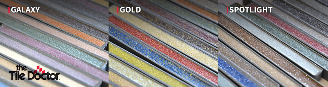 The Tile Doctor's Large Selection of Glitter Grout Finishes