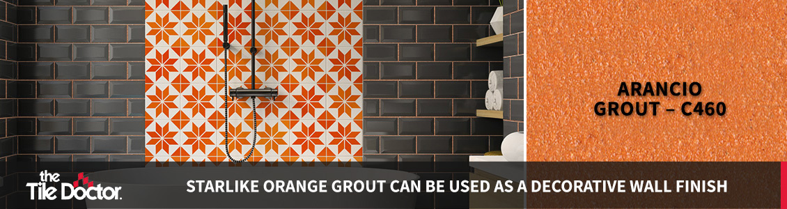 Orange Grout Bathroom