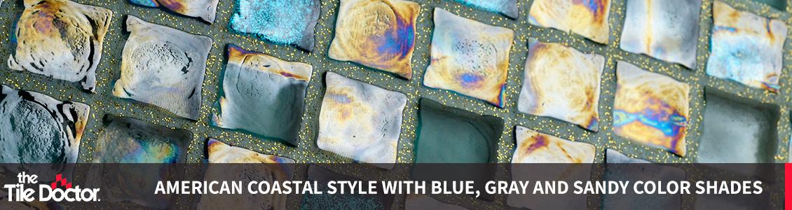 Blue, Grey and Beige glitter Grout Backsplash