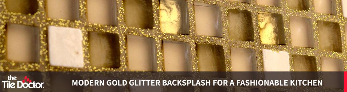 Golden Glitter Grout Backsplash