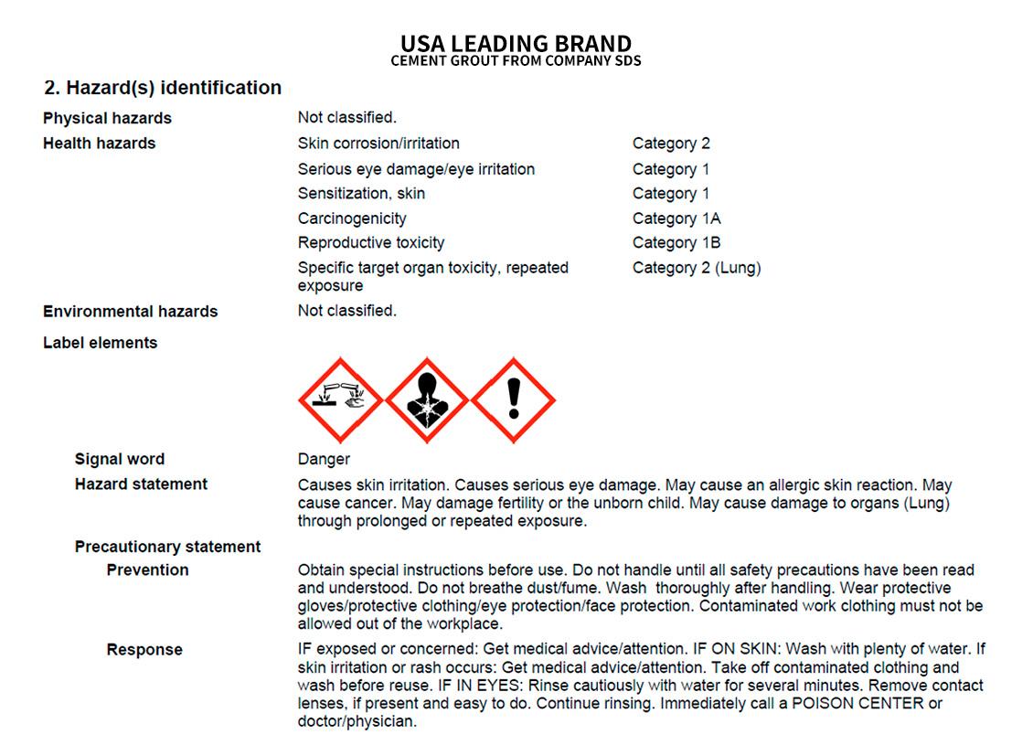 Cement Grout Hazard Information