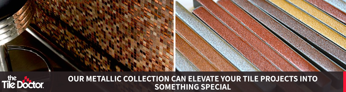 Showcase of Metallic Grout Collection with Installation Example