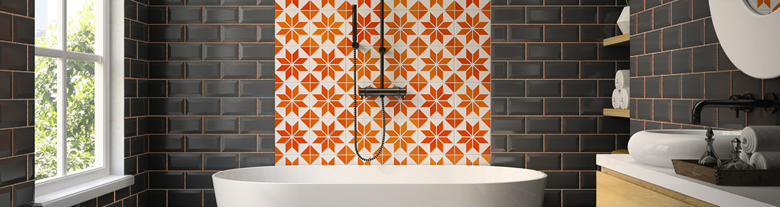 Picture of a Bathroom with Orange Tiles and Bronze Design Grout