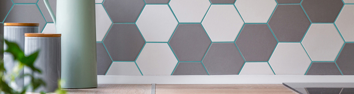 Image of Light Tiles with Teal Blue Grout