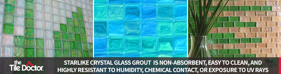 Different Crystal Glass Grout Installations
