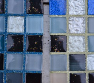 Blue Tile With Blue and Beige Glitter Grout