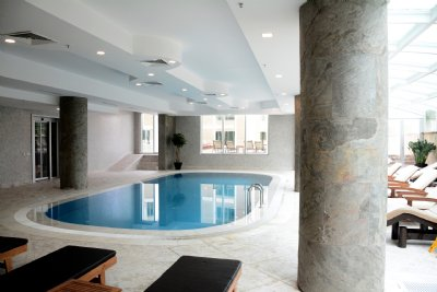 Stone Column in Pool Area